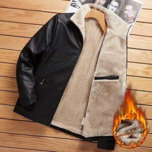 Veste cuir fourrure homme