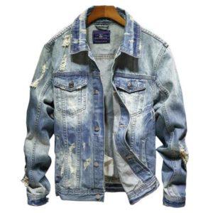 veste en jean déchiré pas cher