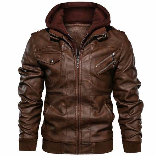 Blouson cuir capuche homme mode